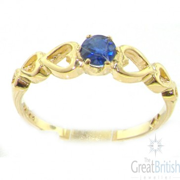9ct Yellow Gold 1/3ct Sapphire Solitaire Ring with Shoulder Hearts
