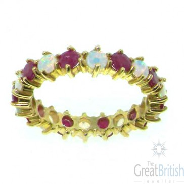 9ct Yellow Gold Ladies Opal & Ruby Full Eternity Ring