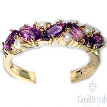 9ct Yellow Gold Ladies Amethyst & Pearl Anniversary Eternity Ring