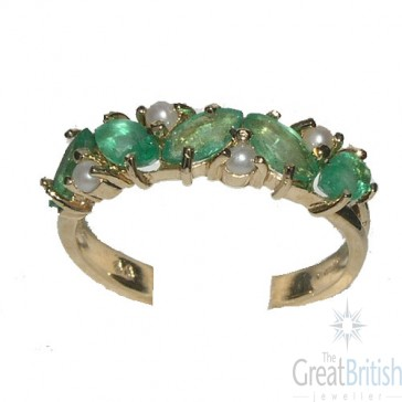 9ct Yellow Gold Ladies Emerald & Pearl Anniversary Eternity Ring