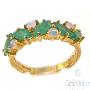 9ct Yellow Gold Natural Fiery Opal & Emerald Eternity Ring