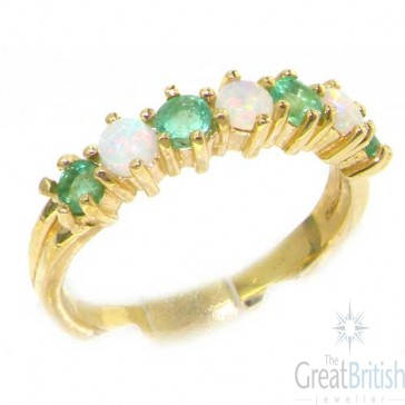 14K Gold Opal & Emerald Half Eternity Ring