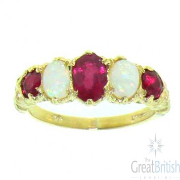 9ct Yellow Gold Natural Ruby & Opal English Victorian Ring