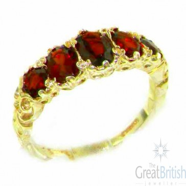 14K Yellow Gold Natural Garnet English Victorian Ring
