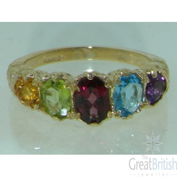 9ct Yellow Gold Natural Amethyst, Blue Topaz, Garnet, Peridot & Citrine English Victorian Ring