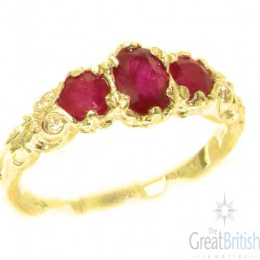 14K Yellow Gold Natural Ruby English Victorian Trilogy Ring