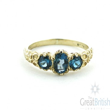 14K Yellow Gold Natural Blue Topaz English Victorian Trilogy Ring