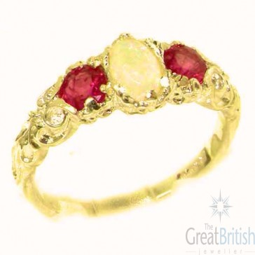 9ct Yellow Gold Natural Opal & Ruby English Victorian Trilogy Ring