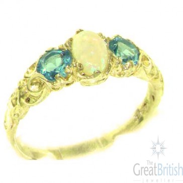 9ct Yellow Gold Natural Opal & Blue Topaz English Victorian Trilogy Ring
