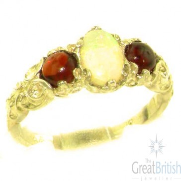 9ct Yellow Gold Natural Opal & Garnet English Victorian Trilogy Ring