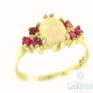 14K Yellow Gold Natural Opal & Ruby Ring