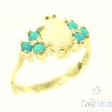 14K Yellow Gold Natural Opal & Turquoise Ring