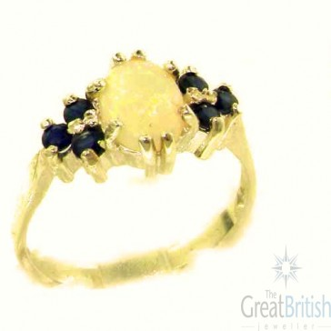 9ct Yellow Gold Natural Opal & Sapphire Ring