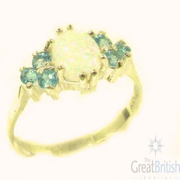 9ct Yellow Gold Natural Opal & Blue Topaz Ring