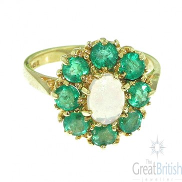 9ct Yellow Gold Natural Opal & Emerald Large Cluster Ring