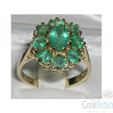 9ct Yellow Gold Natural Emerald Large Cluster Ring