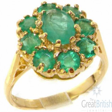 14K Gold Emerald Cluster Ring