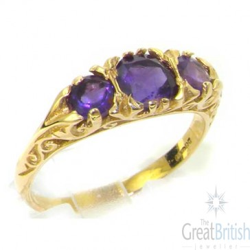 9ct Yellow Gold Ladies Amethyst Anniversary Eternity Trilogy Ring