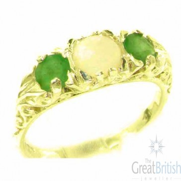 9ct Yellow Gold Natural Opal & Emerald Victorian Trilogy Ring