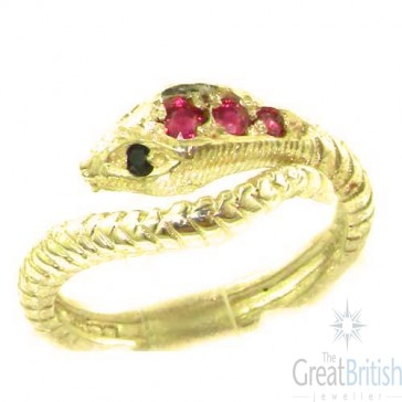 9ct Yellow Gold Natural Ruby & Sapphire Detailed Snake Ring