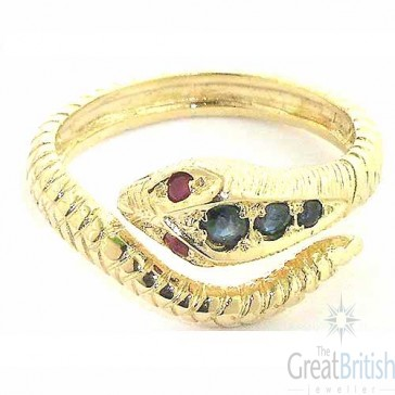 9ct Yellow Gold Sapphire & Ruby Snake Ring