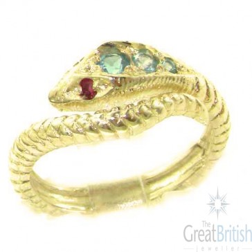 9ct Yellow Gold Natural Blue Topaz & Ruby Detailed Snake Ring