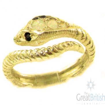 14K Yellow Gold Natural Fiery Opal & Sapphire Detailed Snake Ring