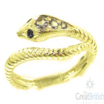 14K Yellow Gold Natural Tanzanite & Sapphire Detailed Snake Ring