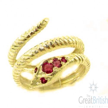 14K Yellow Gold Natural Ruby Detailed Snake Ring