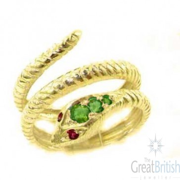 14K Yellow Gold Natural Emerald & Ruby Detailed Snake Ring
