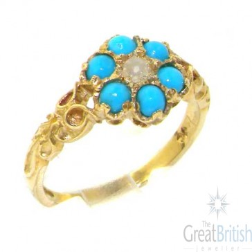 9ct Yellow Gold Natural Fiery Opal & Amethyst Daisy Ring