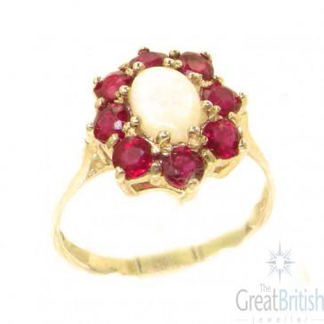 9ct Yellow Gold Natural Opal & Ruby Cluster Ring