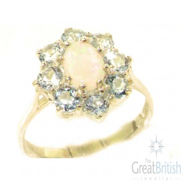 14K Yellow Gold Natural Opal & Aquamarine Cluster Ring