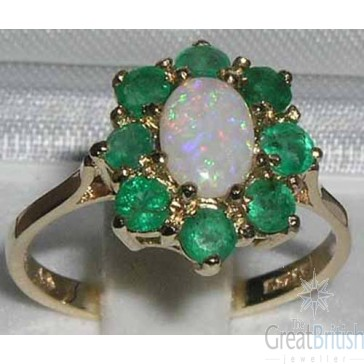 14K Yellow Gold Natural Opal & Emerald Cluster Ring