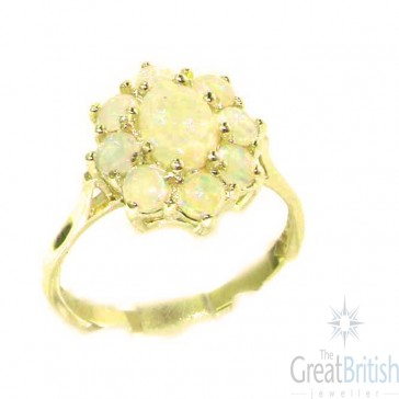 14K Yellow Gold Natural Opal Cluster Ring
