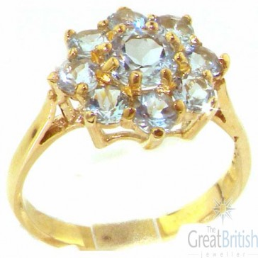 9ct Yellow Gold Aquamarine Cluster Ring