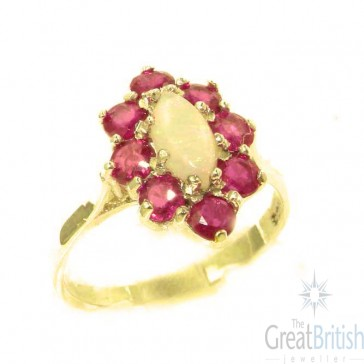 14K Yellow Gold Natural Opal & Ruby Cluster Ring