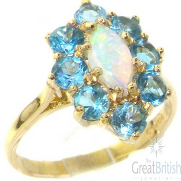 14K Yellow Gold Natural Opal & Blue Topaz Cluster Ring