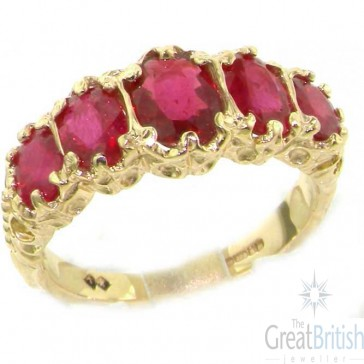 9ct Yellow Gold Genuine Ruby Ring