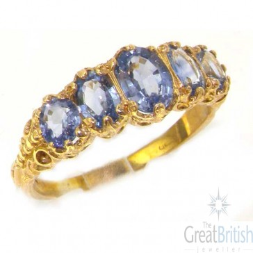 9ct Yellow Gold Ladies Vibrant Ceylon Sapphire Eternity Band Ring