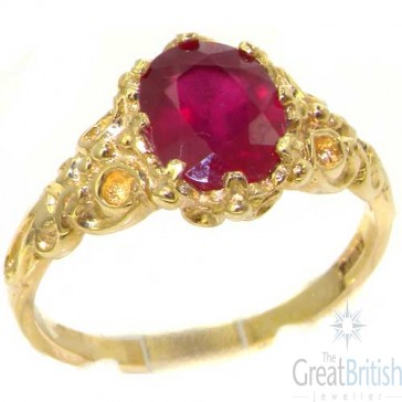 9ct Yellow Gold Natural Ruby Womens Solitaire Engagment Ring