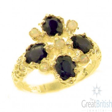 9ct Yellow Gold Natural Sapphire & Fiery Opal Ring