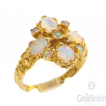 9ct Yellow Gold Victorian Style Fiery Opal Ring