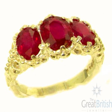 14K Yellow Gold Natural 4ct Ruby Ring