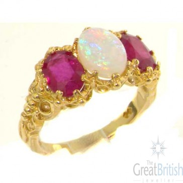 14K Yellow Gold Natural 3.4ct Opal & Ruby Ladies Ring