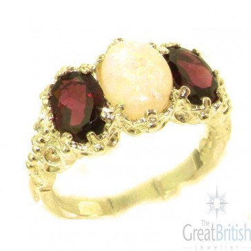 9ct Yellow Gold Natural Large Opal & Rhodalite Garnet Ladies Ring