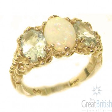 9ct Yellow Gold Natural Aquamarine & Opal Ring