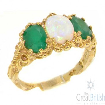 14K Yellow Gold Natural 3.4ct Opal & Emerald Ladies Ring