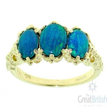9ct Yellow Gold Natural 3.4ct Opal Triplet Ladies Ring