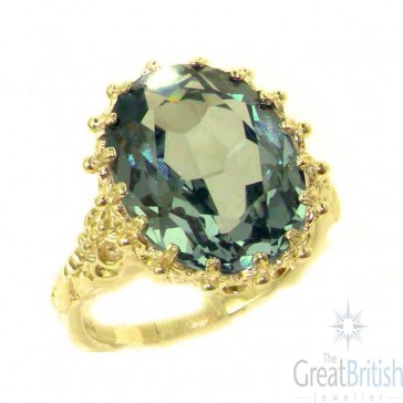 9ct Yellow Gold Large 16x12mm Oval 10ct Synthetic Aquamarine Ring